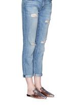 'Disco' chevron stripe metallic raffia slippers