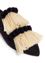 Pompom raffia fringe canvas slippers