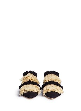 SANAYI 313-Pompom raffia fringe canvas slippers