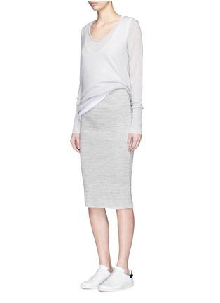 模特儿示范图 - 点击放大 - JAMES PERSE - 条纹棉质铅笔裙