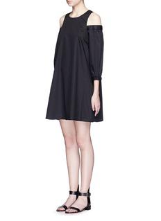 TIBICold shoulder mercerised cotton poplin dress