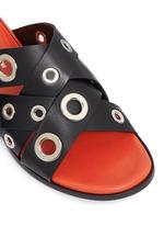 Variegated grommet crisscross leather slide sandals