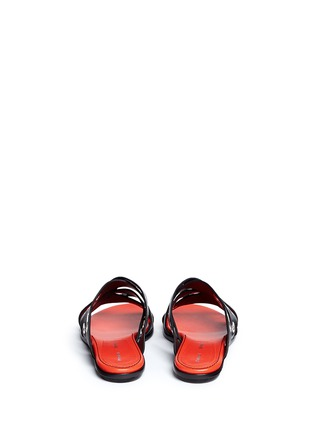 Back View - Click To Enlarge - Proenza Schouler - Variegated grommet crisscross leather slide sandals