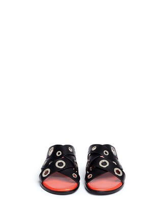 Front View - Click To Enlarge - Proenza Schouler - Variegated grommet crisscross leather slide sandals