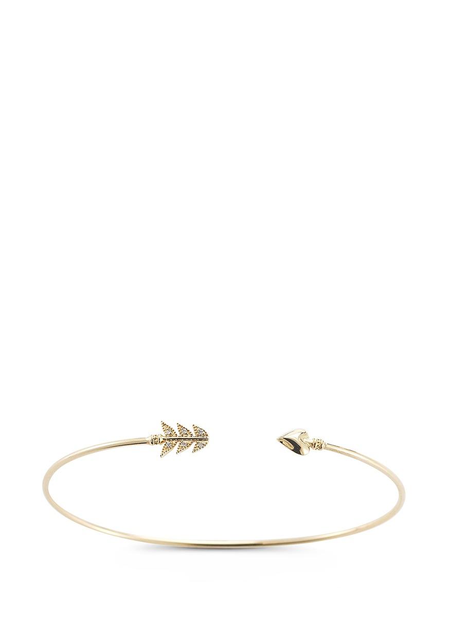 Sea of Beauty diamond 14k gold wire arrow cuff by Mizuki