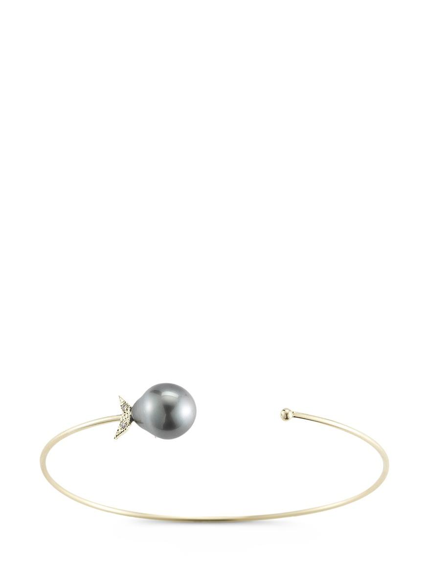 Sea of Beauty diamond Tahitian pearl 14k gold wire petal cuff by Mizuki