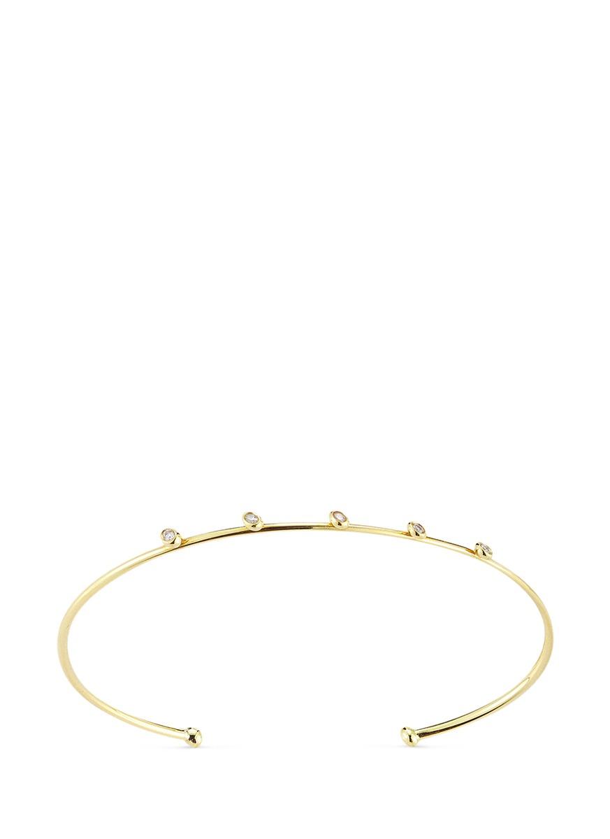 Sea of Beauty diamond 14k gold wire cuff by Mizuki