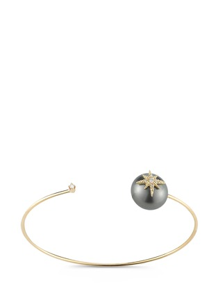 Main View - Click To Enlarge - Mizuki - 'Sea of Beauty' diamond star Tahitian pearl 14k gold wire cuff