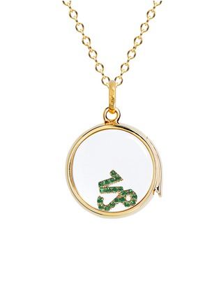 Figure View - Click To Enlarge - Loquet London - 18k yellow gold emerald zodiac charm - Capricorn