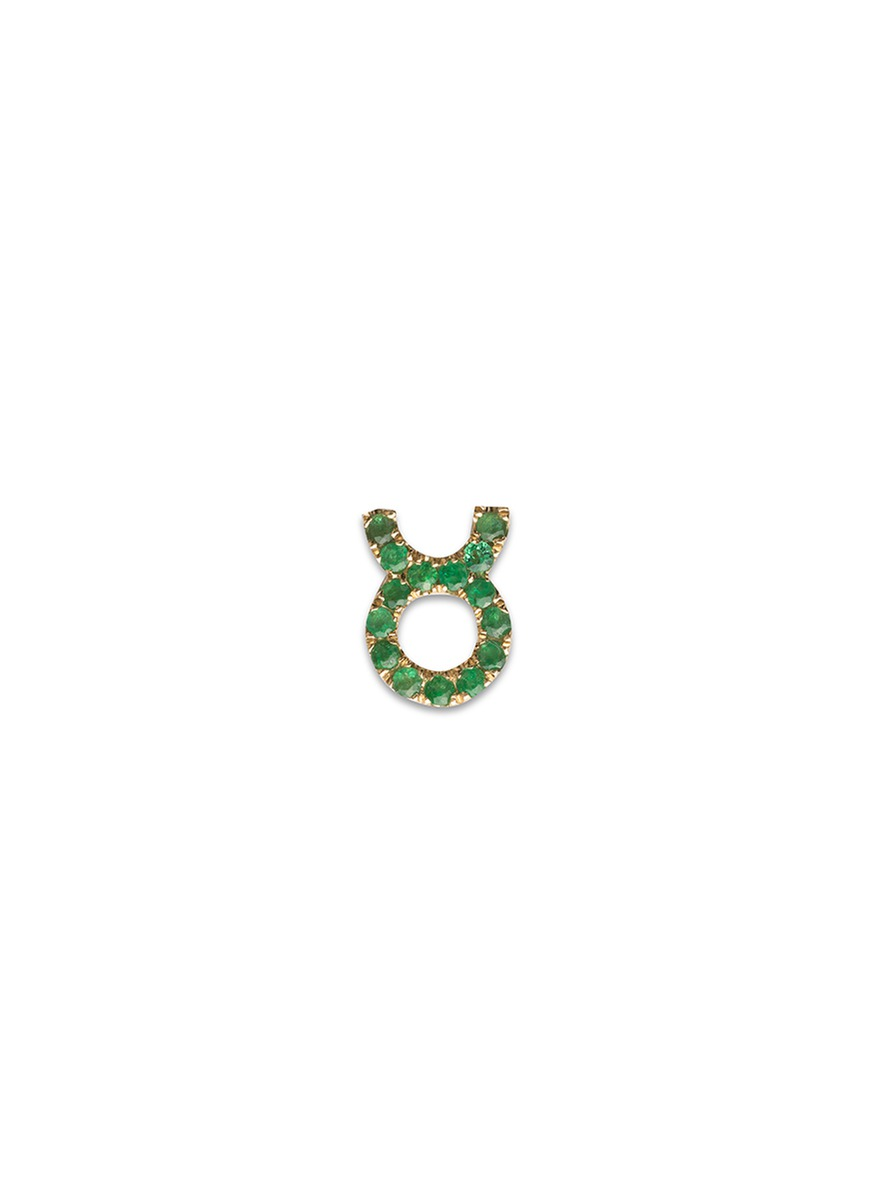 18k yellow gold emerald zodiac charm – Taurus by Loquet London