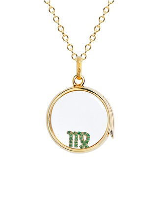 Figure View - Click To Enlarge - Loquet London - 18k yellow gold emerald zodiac charm - Virgo