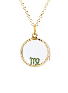 Loquet London 18k yellow gold emerald zodiac charm - Virgo