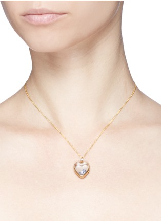 Detail View - Click To Enlarge - Loquet London - 14k yellow gold rock crystal heart locket - Medium 18mm