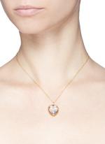 14k yellow gold rock crystal heart locket - Medium 18mm