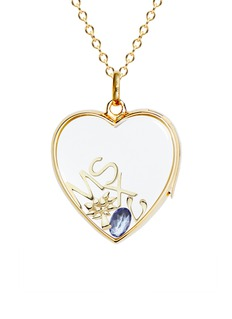 Loquet London 14k yellow gold rock crystal heart locket - Large 22mm