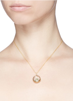 Detail View - Click To Enlarge - Loquet London - 14k yellow gold rock crystal round locket - Medium 18mm