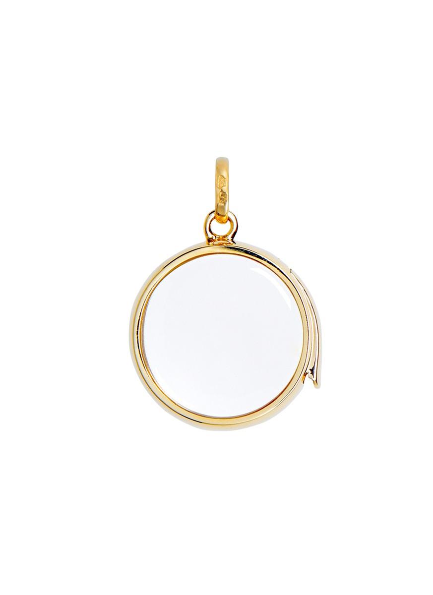 14k yellow gold rock crystal round locket – Medium 18mm by Loquet London