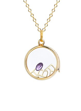 Figure View - Click To Enlarge - Loquet London - 14k yellow gold rock crystal round locket - Medium 18mm