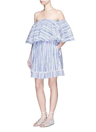 Figure View - Click To Enlarge - Nicholas - Washed stripe print cotton off-shoulder top