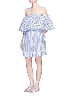 NICHOLASWashed stripe print cotton off-shoulder top