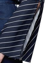 Stripe bell sleeve tie-front poplin top