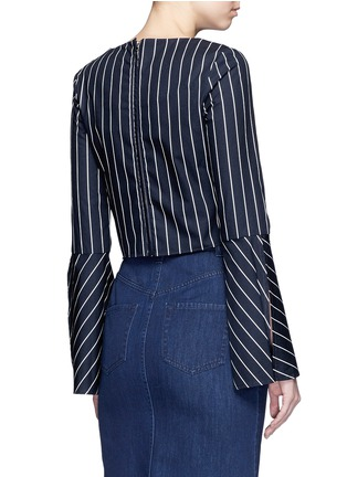 Back View - Click To Enlarge - Nicholas - Stripe bell sleeve tie-front poplin top