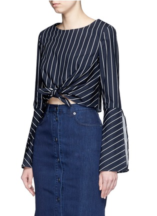 Front View - Click To Enlarge - Nicholas - Stripe bell sleeve tie-front poplin top