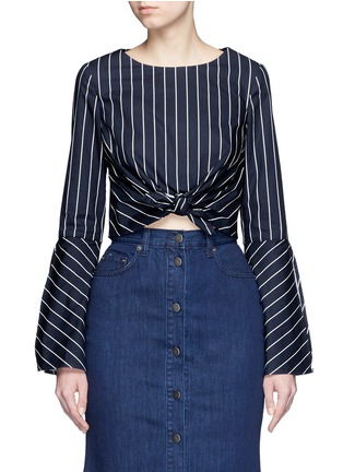 Main View - Click To Enlarge - Nicholas - Stripe bell sleeve tie-front poplin top