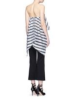Stripe print cascading frill bustier top