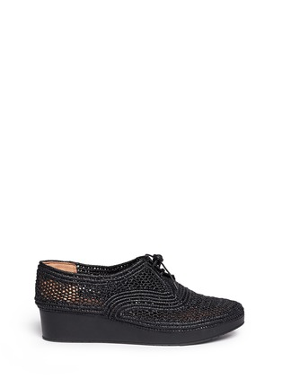 Main View - Click To Enlarge - Robert Clergerie - 'Vicolei' woven raffia wedge lace-ups