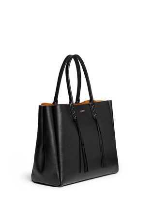 Front View - Click To Enlarge - Lanvin - 'Shopper' lace up tassel leather tote