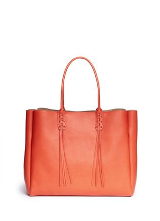 Back View - Click To Enlarge - Lanvin - 'Shopper' lace up tassel leather tote