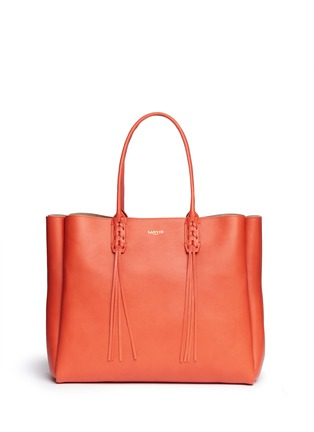 Main View - Click To Enlarge - Lanvin - 'Shopper' lace up tassel leather tote