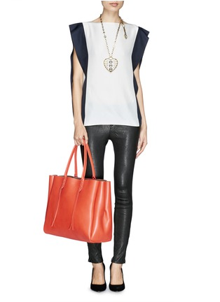 Figure View - Click To Enlarge - Lanvin - 'Shopper' lace up tassel leather tote