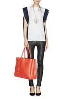 'Shopper' lace up tassel leather tote