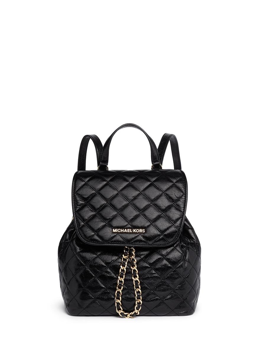 michael michael kors 39 susannah 39 quilted leather backpack. Black Bedroom Furniture Sets. Home Design Ideas
