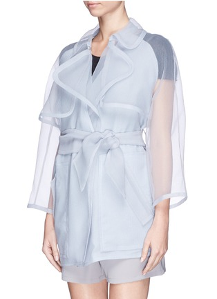 Front View - Click To Enlarge - Armani Collezioni - Sheer cloqué silk organdy trench coat