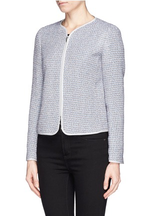 Front View - Click To Enlarge - Armani Collezioni - Collarless bouclé tweed jacket