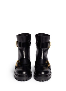 ALEXANDER MCQUEEN Split cuff buckle leather combat boots