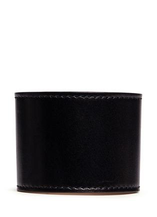 Back View - Click To Enlarge - Alexander McQueen - Bridge twist lock wide leather bracelet
