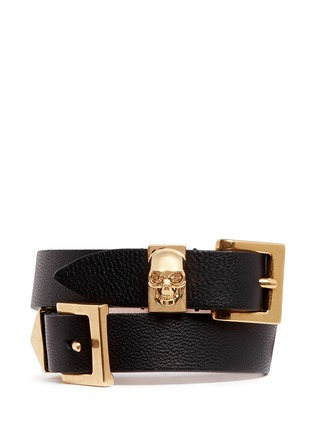 Main View - Click To Enlarge - Alexander McQueen - Three buckle double wrap skull leather bracelet