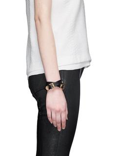 ALEXANDER MCQUEENThree buckle double wrap skull leather bracelet