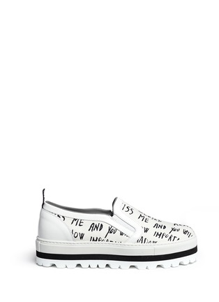 Main View - Click To Enlarge - MSGM - Text print canvas flatform slip-ons