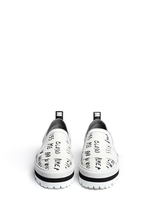 Figure View - Click To Enlarge - MSGM - Text print canvas flatform slip-ons
