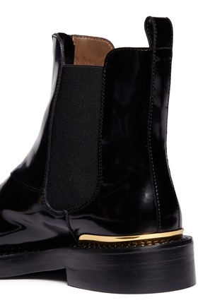 Detail View - Click To Enlarge - Marni - Metal plate zip leather Chelsea boots