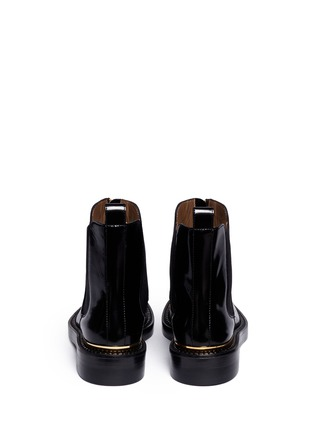 Back View - Click To Enlarge - Marni - Metal plate zip leather Chelsea boots