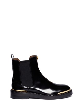 Main View - Click To Enlarge - Marni - Metal plate zip leather Chelsea boots