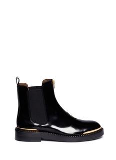 MARNIMetal plate zip leather Chelsea boots