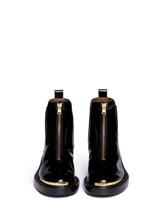 Figure View - Click To Enlarge - Marni - Metal plate zip leather Chelsea boots