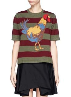 STELLA JEAN'Zaira' rooster intarsia stripe wool sweater